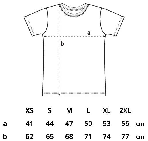 størrelsesguide fitted t-shirt