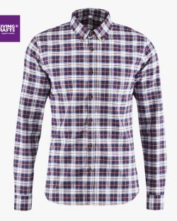 Lillabrun og blå flanellskjorte til herre fra Living Crafts - 100 % økologisk bomull » Etiske & økologiske klær » Grønt Skift