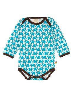 Langermet body med lyseblå elefanter - 100 % økologisk bomull » Etiske & økologiske klær » Grønt Skift