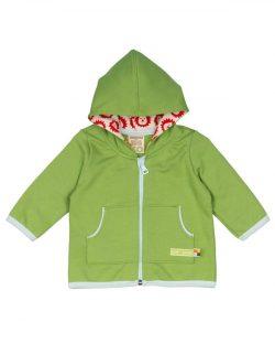 Grønn hettegenser med glidelås til baby - 100 % økologisk bomull » Etiske & økologiske klær » Grønt Skift