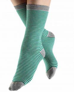 6 par unisex-sokker med grønne og hvite striper i økologisk bomull » Etiske & økologiske klær » Grønt Skift