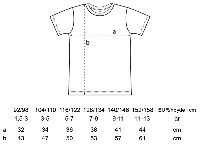 Størrelsesguide unisex t-skjorte til barn fra Neutral - 100 % økologisk fairtrade-bomull » Etiske & økologiske klær » Grønt Skift