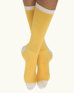 6 par unisex-sokker med gule og hvite striper i økologisk bomull » Etiske & økologiske klær » Grønt Skift