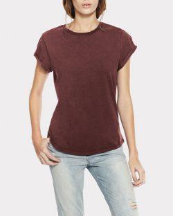 Kortermet t-skjorte i steinvasket burgunder til dame - 100 % økologisk bomull » Etiske & økologiske klær » Grønt Skift