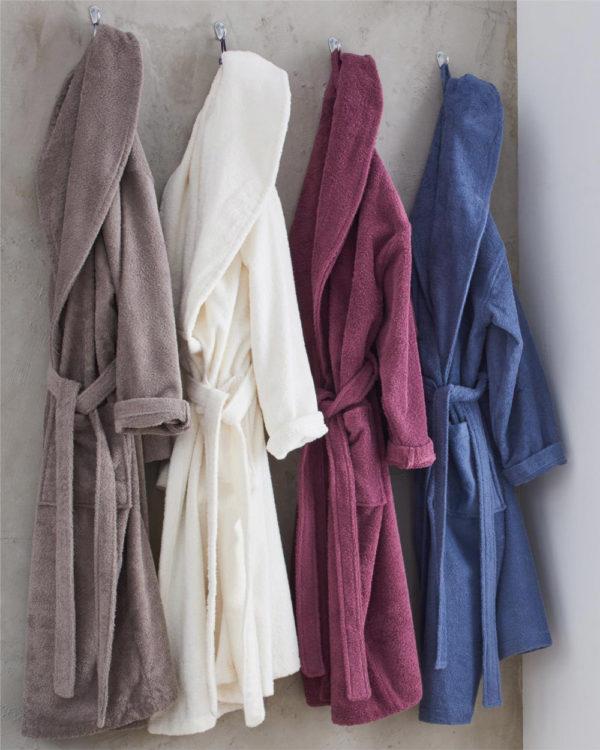 Blå unisex morgenkåpe i 100 % økologisk bomull » Etiske & økologiske klær » Grønt Skift