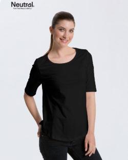 Svart t-skjorte med 2/4 arm - 100 % økologisk bomull » Etiske & økologiske klær » Grønt Skift