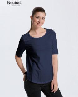 Mørkeblå t-skjorte med 2/4 arm - 100 % økologisk bomull » Etiske & økologiske klær » Grønt Skift