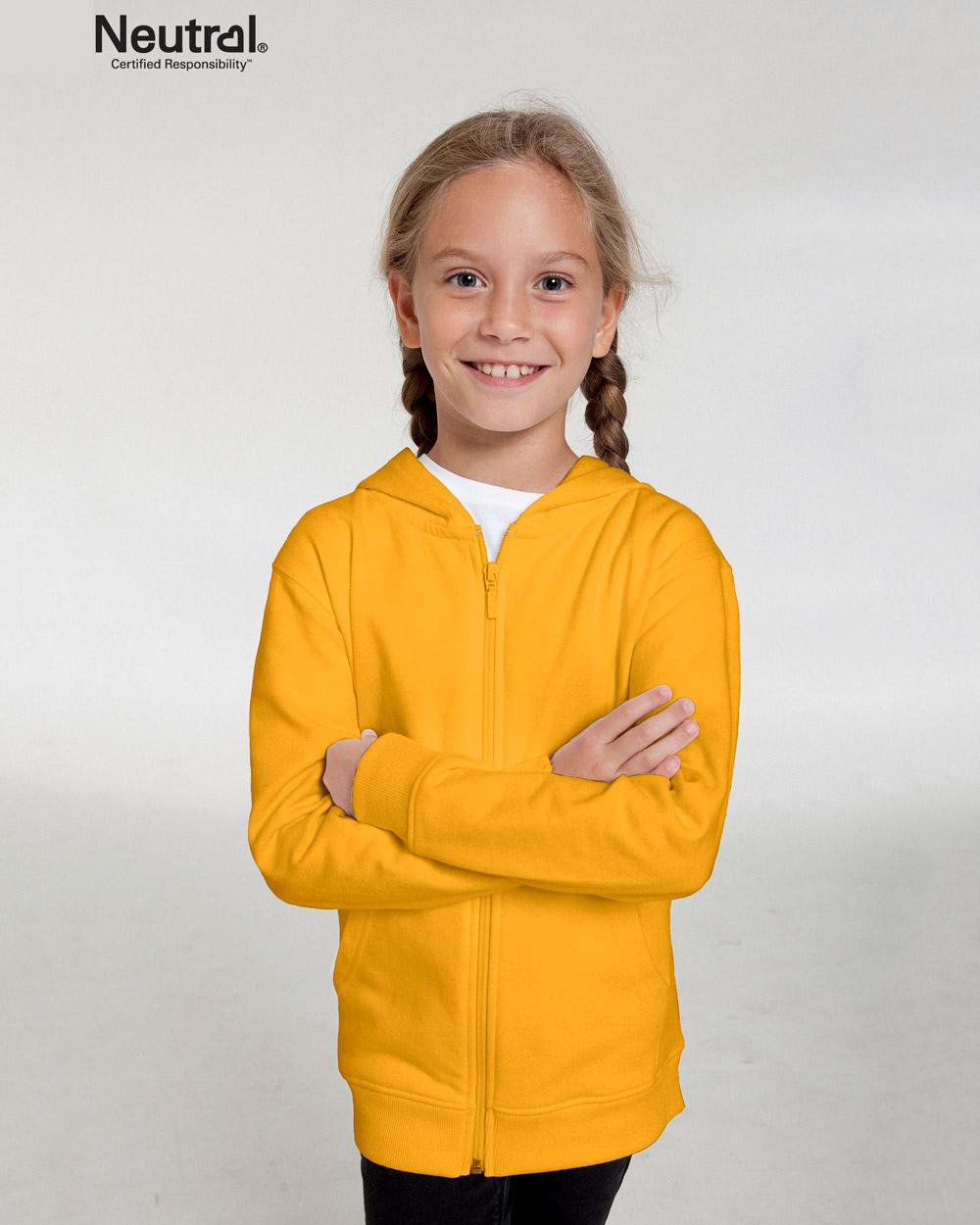 c099cc58 Gul ensfarget hettejakke til barn - 100 % økologisk bomull - Grønt Skift