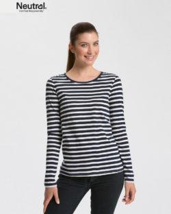 Mørkeblå og hvit stripete trøye - 100 % økologisk bomull » Etiske & økologiske klær » Grønt Skift