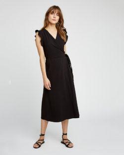 Melanie sort omslagskjole - økologisk bomull» Etiske & økologiske klær » Grønt Skift