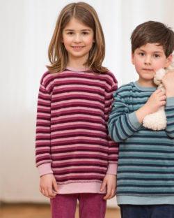 Rosa og mørkerød stripet pysjamas i 100 % økologisk bomull » Etiske & økologiske klær » Grønt Skift