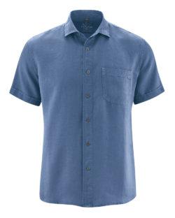 Blå skjorte med korte ermer - 100 % hamp » Etiske & økologiske klær » Grønt Skift