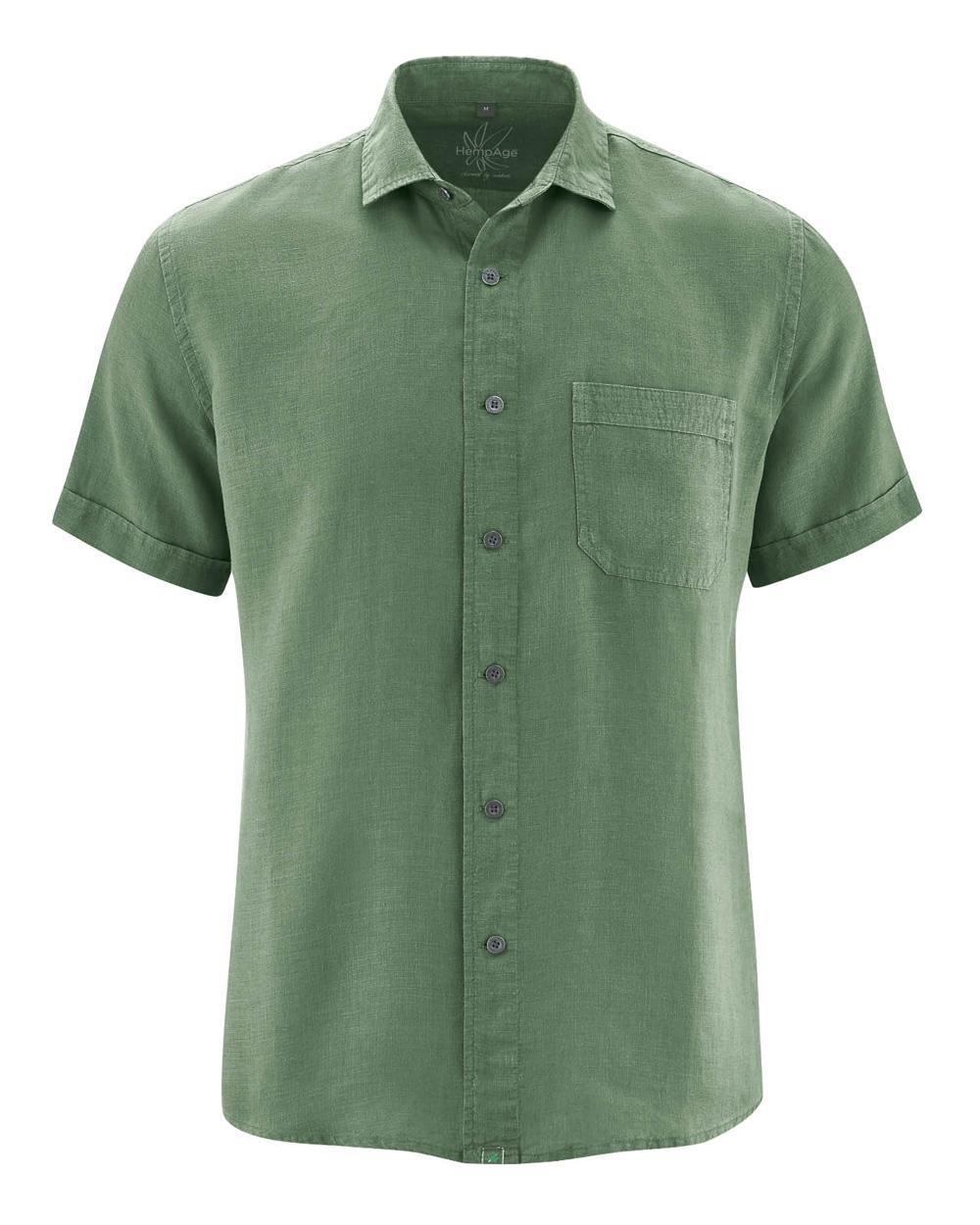 Skoggrønn skjorte med korte ermer 100 % hamp » Grønt Skift