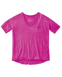 Rosa t-skjorte med v-hals - økologisk bomull og hamp » Etiske & økologiske klær » Grønt Skift