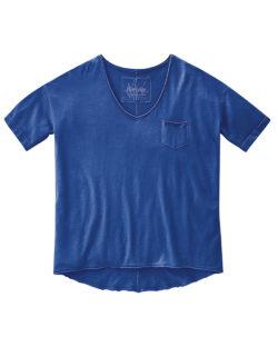 Blå t-skjorte med v-hals - økologisk bomull og hamp » Etiske & økologiske klær » Grønt Skift