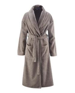 Beige unisex morgenkåpe i 100 % økologisk bomull » Etiske & økologiske klær » Grønt Skift