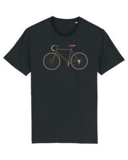 Svart t-skjorte med sykkel motiv i 100 % økologisk bomull » Etiske & økologiske klær » Grønt Skift