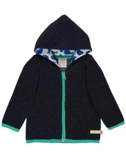 Mørk blå fleecejakke med hette - Ull/bomull (GOTS) » Etiske & økologiske klær » Grønt Skift