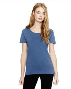Denimblå t-skjorte i 100 % økologisk fairtrade bomull » Etiske & økologiske klær » Grønt Skift