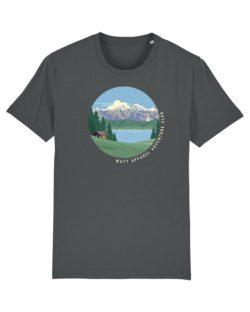Grå t-skjorte med fjellmotiv i 100 % økologisk bomull » Etiske & økologiske klær » Grønt Skift