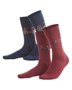 2 pk. sokker med sykkelmotiv i økologisk bomull, elastan og polyamid» Etiske & økologiske klær » Grønt Skift
