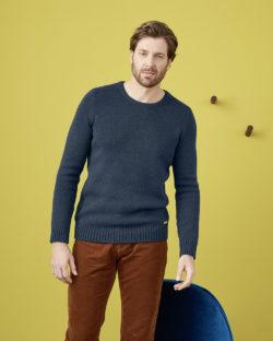 Mørkeblå genser i økologisk bomull og økologisk ull » Etiske & økologiske klær » Grønt Skift