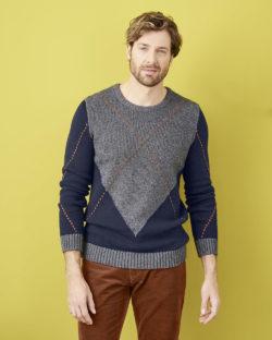Blå og grå genser i økologisk bomull og økologisk ull » Etiske & økologiske klær » Grønt Skift
