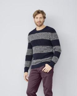 Stripete blå og grå genser i 100% økologisk bomull » Etiske & økologiske klær » Grønt Skift