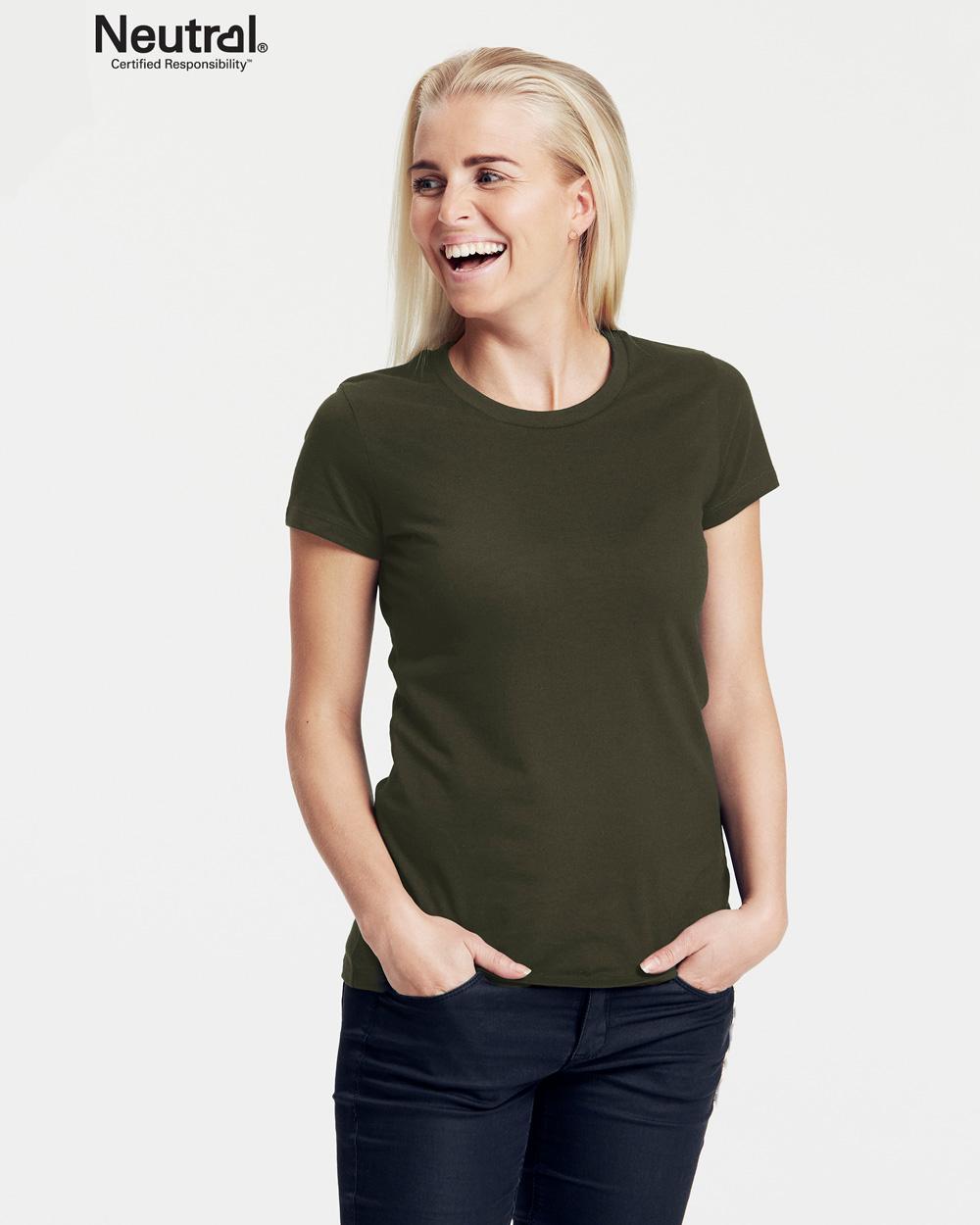 Militærgrønn slightly fitted t skjorte 100 % økologisk