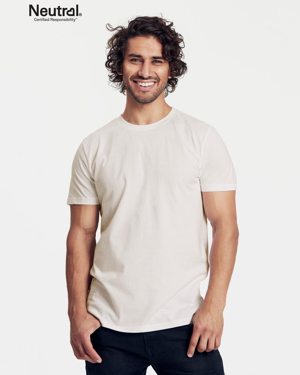 Hvit slightly fitted t skjorte 100 % økologisk bomull