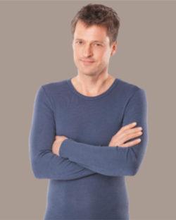 Mørkeblå langermet trøye i 70 % økologisk ull og 30 % silke » Etiske & økologiske klær » Grønt Skift