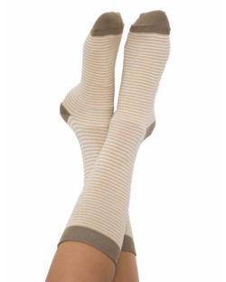 6 par sokker med beige striper i økologisk bomull » Etiske & økologiske klær » Grønt Skift
