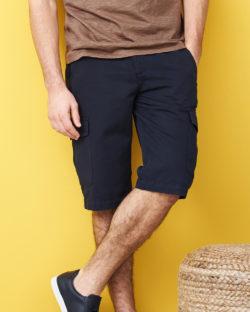 Mørkeblå bermuda shorts - økologisk bomull og lin » Etiske & økologiske klær » Grønt Skift