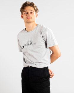 Grå t-skjorte med surfebrett - 100 % økologisk bomull » Etiske & økologiske klær » Grønt Skift
