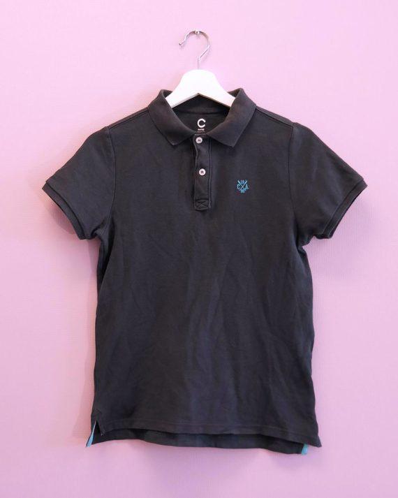 Mørkeblå-pikè-t-skjorte-framme