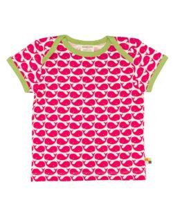 Rosa, grønn og hvit t-skjorte med hvaler - 100 % økologisk bomull » Etiske & økologiske klær » Grønt Skift