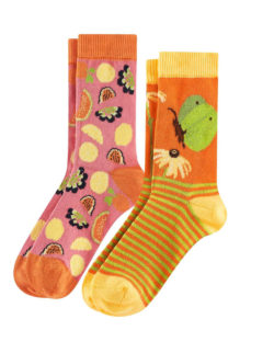 2 par sokker med frukt og sommerfugl i økologisk bomull » Etiske & økologiske klær » Grønt Skift