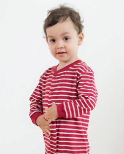 Rød og hvit stripete pysj til baby i 100 % økologisk bomull » Etiske & økologiske klær » Grønt Skift