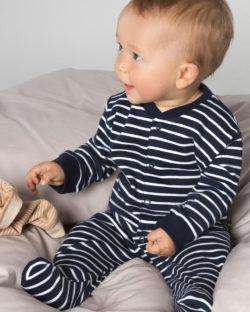 Blå og hvit stripete pysj til baby i 100 % økologisk bomull » Etiske & økologiske klær » Grønt Skift