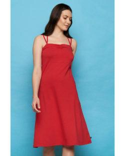 Rød kjole med kryssende stropper - økologisk bomull » Etiske & økologiske klær » Grønt Skift