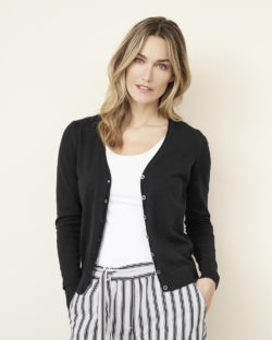 Svart cardigan med knapper - 100 % økologisk bomull » Etiske & økologiske klær » Grønt Skift