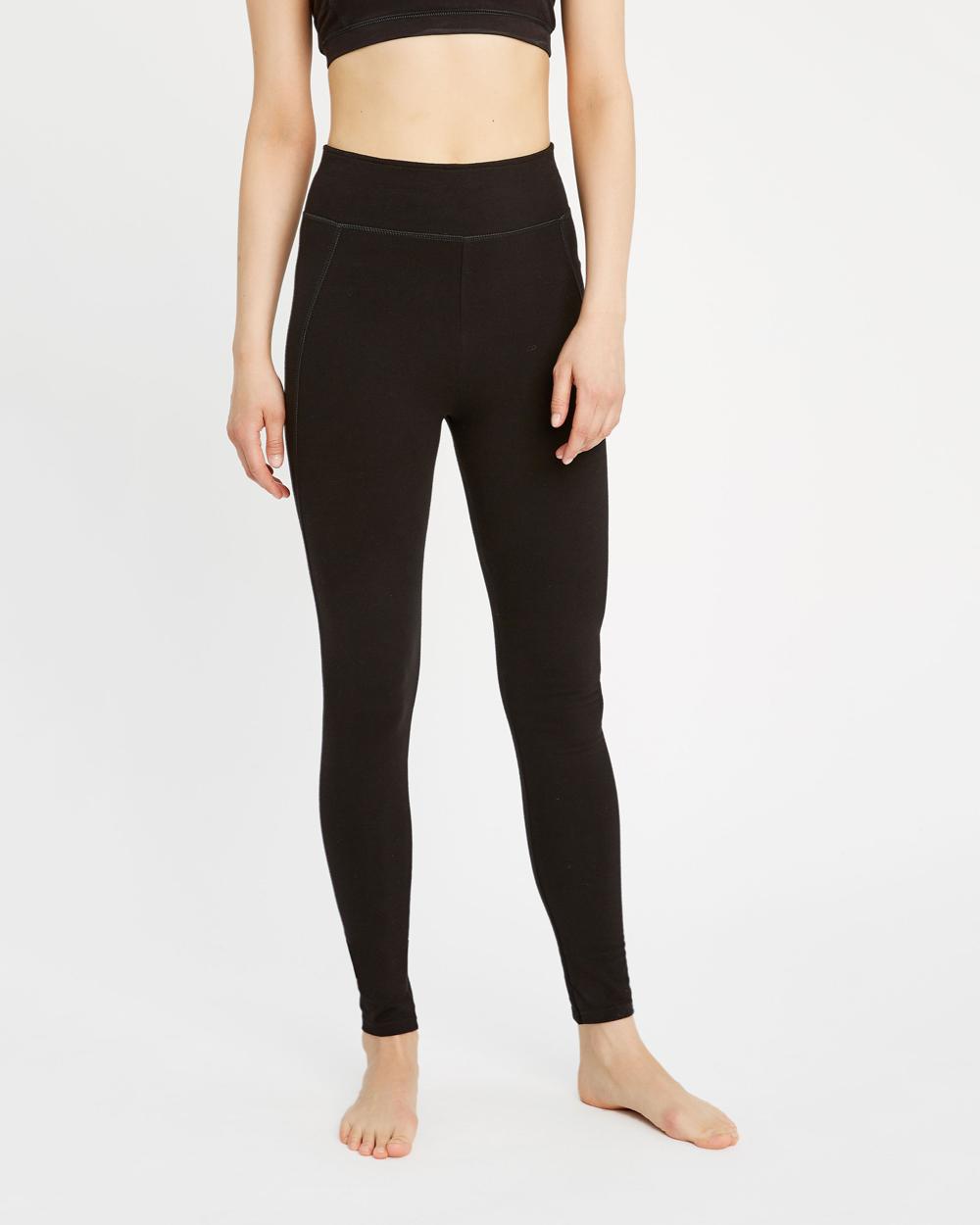 Svart tights til trening og yoga økologisk bomull