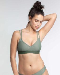Khaki sporty bikinitopp - resirkulert nylon » Etiske & økologiske klær » Grønt Skift