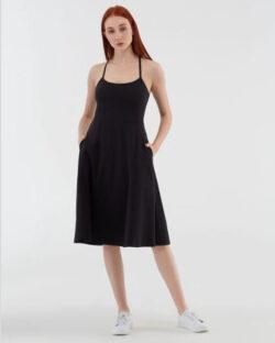 Svart kjole med stropper - økologisk bomull » Etiske & økologiske klær » Grønt Skift