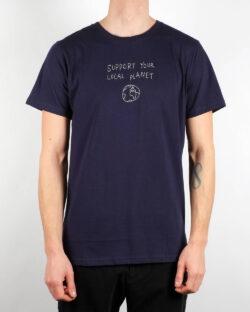 """Navy t-skjorte med """"Support your local planet"""" - 100 % økologisk bomull » Etiske & økologiske klær » Grønt Skift"""