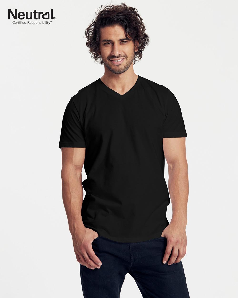 Hvit t skjorte med v hals 100 % økologisk bomull » Grønt Skift