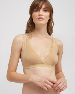 Beige trekant BH med blondekant - økologisk bomull» Etiske & økologiske klær » Grønt Skift