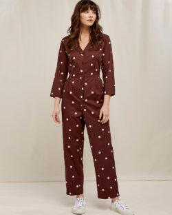 Brun jumpsuit med hvite prikker - 100 % økologisk bomull » Etiske & økologiske klær » Grønt Skift