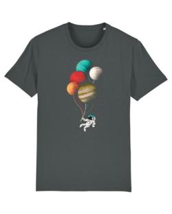 Grå t-skjorte med astronaut i 100 % økologisk bomull » Etiske & økologiske klær » Grønt Skift