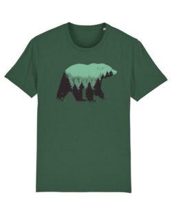 Flaskegrønn t-skjorte med bjørn i 100 % økologisk bomull » Etiske & økologiske klær » Grønt Skift